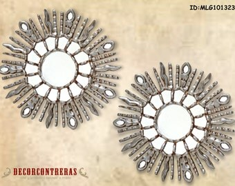 "Small Silver Round Sunburst Mirror of 11.8"" Set of 2 Unit , 'Bright Sun' - Handcarved Wood Wall Mirrors style Cusco- Peruvian Handicrafts"