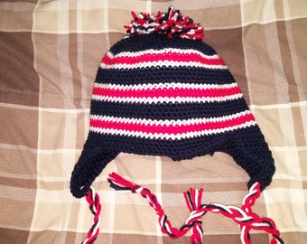 Red, White and Blue Earflap hat !