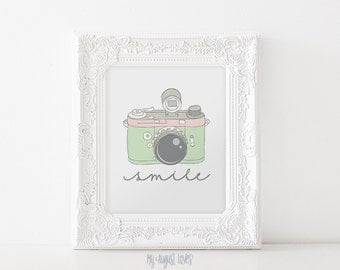 Mint Pink Vintage Camera Printable Art Quote - Smile Quote - Photographer Gift - Nursery Art - Photography Studio Art INSTANT DOWNLOAD