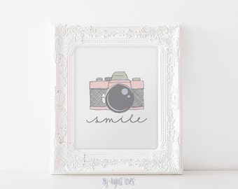 Pink Vintage Camera Printable Art with Quote - Smile Quote - Photographer Gift - Nursery Art - Photography Studio Art INSTANT DOWNLOAD