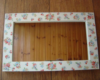 OOAK Decorative Decoupaged Mirror, Cath Kidston Design Spring Flowers, Shabby Chic,
