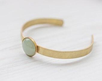 Minimal Green Aventurine Brass Cuff In Gold