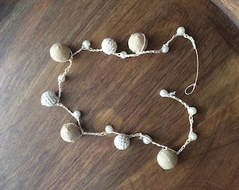 Crochet Hemp Canvas Bead Necklace with Pearls