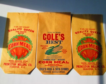 Corn Meal Bags, Vintage Advertising, Ephemera, Quality Queen, Cole's Best Paper Sacks, Country, Farm Home Decor, Collectibles