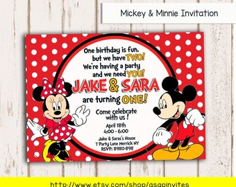 MICKEY & MINNIE MOUSE Invitation, Invite, Birthday, Party, Diy, Digital File, Mickey Mouse Clubhouse, Twins, Twin