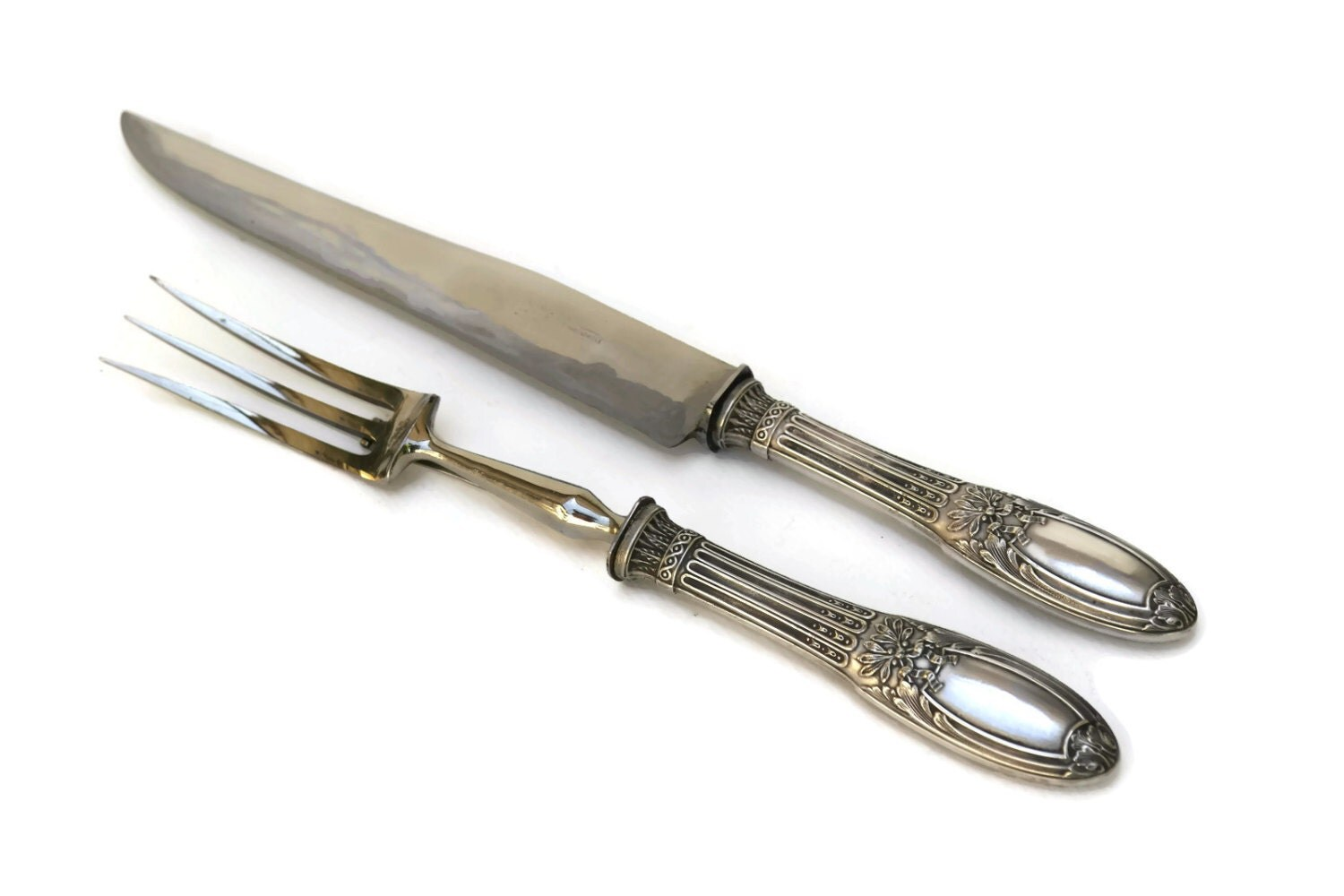 Antique silver carving set with knife and fork by