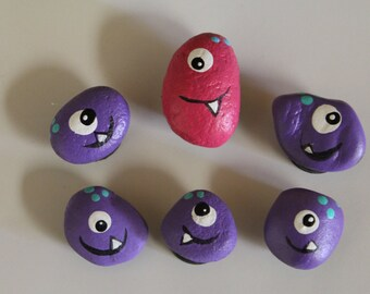 Hand Painted Rock Monster Magnets set of 6