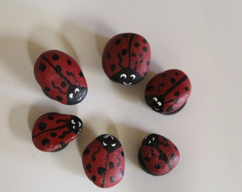 Hand painted Red Lady Bug Rock Magnets set of 6