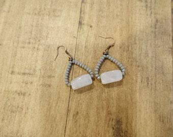 Rose Quartz & Gray Earrings