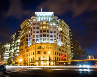 Buildings at H Street and Connecticut Avenue at night, in Washington, DC - Urban Architecture Photography Fine Art Print or Wrapped Canvas