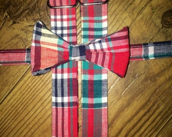 Classic Plaid Print print/red blue green/Bow tie and Suspenders/Perfect for weddings and ring bearers