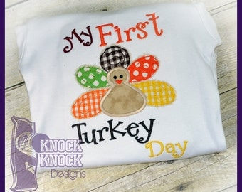 My First Turkey Day Appliqued Shirt
