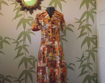 Stylish vintage 1970's shirt dress in amazing abtract fabric