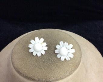 Vintage Floral Milk Glass Earrings
