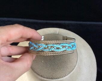 Vintage Blue Glass Beaded Braided Designed Cuff Bracelet