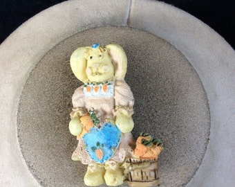 Vintage Easter Bunny With Carrots Pin
