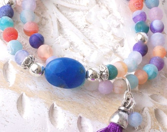 Double row angular charm bracelet agate and jade with hippy tassel