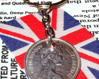 1969 British Old Large Five Pence Coin Keyring Key Chain Fob Queen Elizabeth II