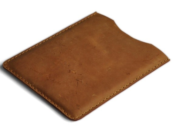 iPad mini 2 or mini 3 Case. Tan Waxed Genuine Leather Sleeve. Raw Style Pouch.