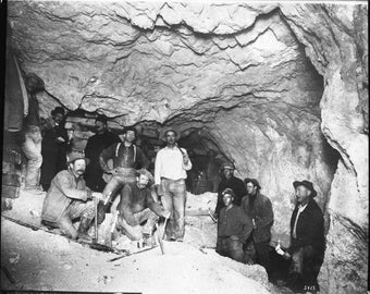 Mohawk Mine, Gfield, Nevada in 1905- Miners   Photo Print