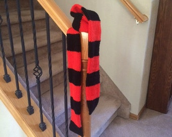A Witches Scarf - Happy Warm Halloween - Black and Orange Stripes