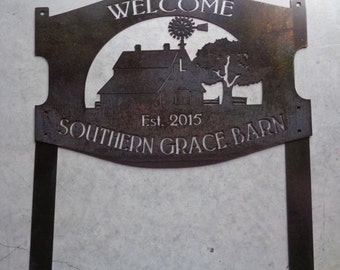 2ft Custom metal sign with barn, windmill and bolt on stakes
