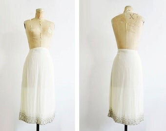 White Sequined Skirt // Large Silver Beaded Midi Skirt // Vintage Women's Clothing