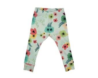 Baby Toddler Harem Pants, Leggings, or Yoga Pants in Blue Garden Print Girls