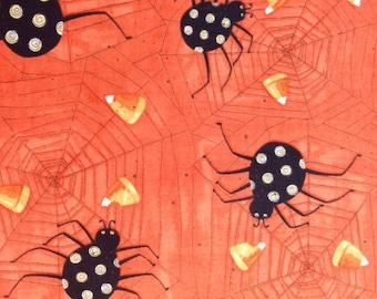 Halloween fabric - spider fabric - spider web fabric - candy corn fabric - orange fabric - #1550