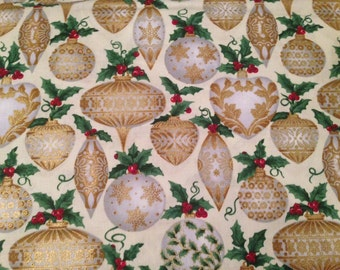 Christmas ornament fabric by the yard - Christmas fabric by the yard - Father Frost - mistletoe - holly - mistle toe - #1595