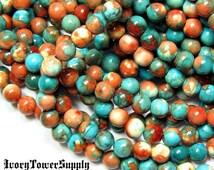 1 Strand 6mm Fossil Stone Beads Orange Multi Color Beads Natural Semi Precious Gemstone Beads