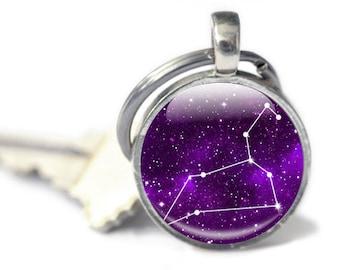 Leo Keyring, Key chain gift, Zodiac Keychain, Constellation charms, purple star sign, Leo star sign, purple horoscope keyring