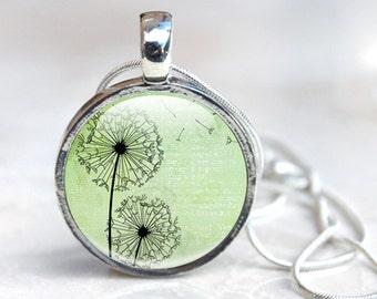 Glass Dandelion Necklace - Dandelion Glass Pendant - Green Glass Pendant Necklace (Dandelion 8)