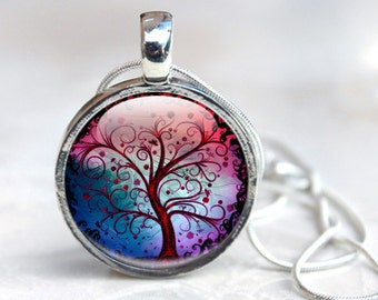 Tree Necklace - Tree Glass Pendant - Tree Jewelry - Tree Pendant in Silver (Tree 7)