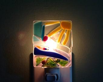 Fused Glass, Lake, Mosaic, Abstract, Lake House, Thank You, Lighting, Night Light