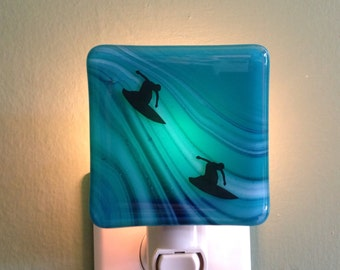 Surfing, Catch the Wave, Surfer, Surf, Fused Glass, Beach House Gift, Night Light