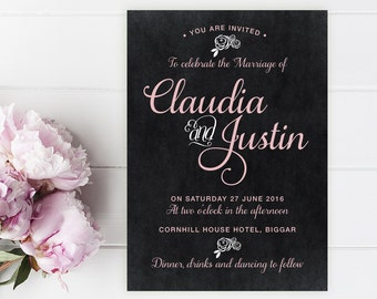 Claudia Printed Wedding Invitation Sample. Chalkboard, Rustic, Pink, Black, Wedding Invitations by Printed Love Co.