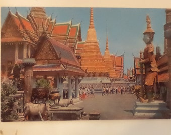 Vintage ORIGINAL inside the emerald buddha temple bangkok thailand Postcard Free Shipping