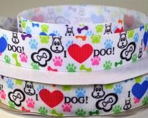 "7/8"" Love Dog, Paw Print, Dog Bone Printed Grosgrain Ribbon"