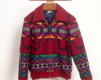 Vintage 70s Pendleton Aztec Tribal Pattern Wool Bomber Jacket - WELL LOVED - Medium