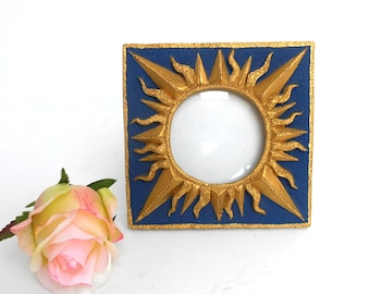 """6"""",Round Picture Frame,Square Blue Frame,Decorative Frame,Sun Picture Frame,Holds 3.5x 3.5 Photo,Ornate Picture Frame,Gold Sun Photo Frame"""