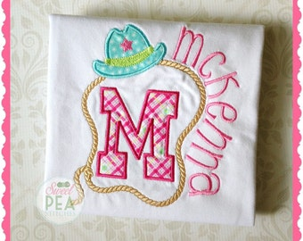 personalized girls cowboy shirt - girls embroidered rodeo  - girls birthday - cowboy hat shirt - lasso shirt  -cowboy birthday -country girl