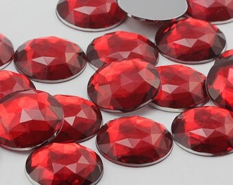 Red Ruby H103 Flat Back Round Loose Acrylic Jewels High Quality Pro Grade - 4 Sizes