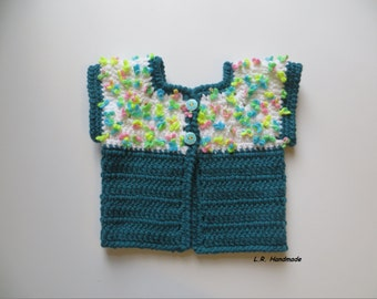 Crochet Girls Vest, 2T to 3T, Girls clothes, Spring Clothes, Chunky sweater vest, Outdoor vest, Spring vest, white, flower, blue - green