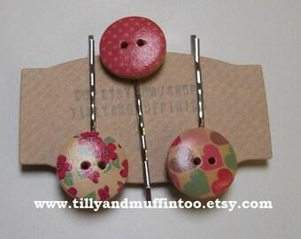 Handmade Wooden Hearts,Flowers & Polka Dot Button Bobby Pins, Hair Grips,Hair Slides,Hair Pins.Party Favor, Wedding,Stocking Filler/Stuffer.
