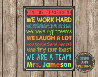 In Our Classroom-Personalized Teacher Printable-8x10-Digital File-You Print