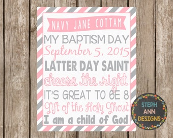 LDS Baptism Subway Art-Personalized Printable-8x10