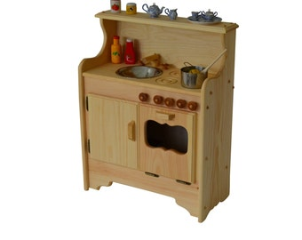 Handcrafted Natural Wooden Toy Play Set- Waldorf Kitchen- Play Kitchen-Wooden Toys-Pretend Play-Wooden Play Food-Child's Kitchen-Play Stove