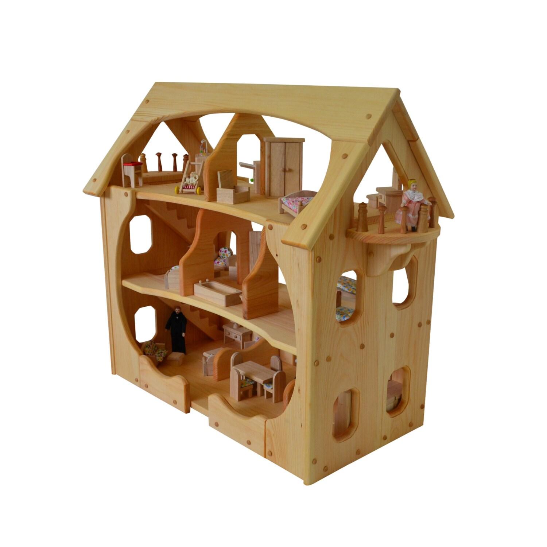 Wooden Dollhouse Montessori Wood Dollhouse Montessori