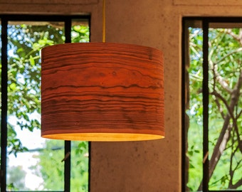 "Drum Shade Pendant light ""Cylinder"" -Cherry Wood Veneer -handmade Veneer Lamp"